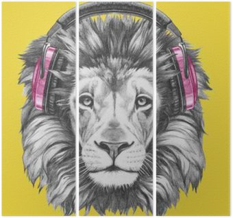 Drieluik Portret van de Leeuw met een koptelefoon. Hand getrokken illustratie.