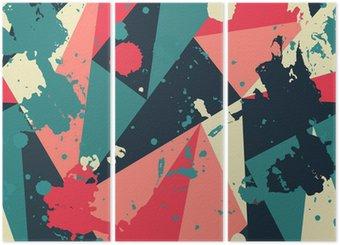 Drieluik Retro driehoek naadloze patroon met blob effect