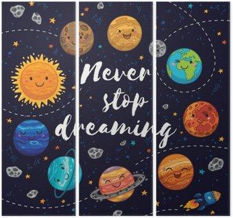 Drieluik Stop nooit met dromen. Motivatie vector illustratie