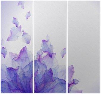 Drieluik Waterverfkaart met Purper bloemblaadje