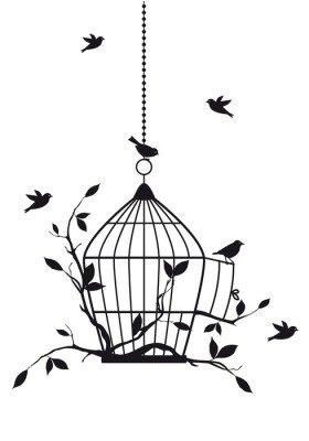 Duvar Çıkartması Açık kuş kafesi, vektör ile ücretsiz kuşlar