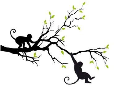 Duvar Çıkartması Ağaç, vektör üzerinde maymunlar