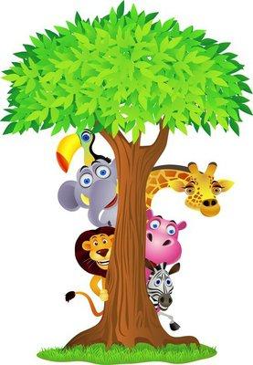 Duvar Çıkartması Ağacın arkasında Hayvan gizleme