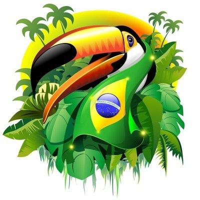 Duvar Çıkartması Brezilya Bayraklı Toco Toucan