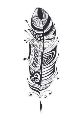 Duvar Çıkartması Elle çizilmiş tüyler. Mürekkep vektör çizim. bohem tarzı tasarım öğeleri. etnik yaratıcı karalama. Beyaz zemin üzerine izole