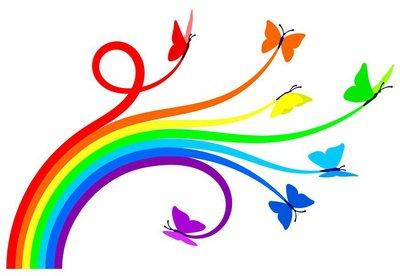 Duvar Çıkartması Gökkuşağı kelebekler