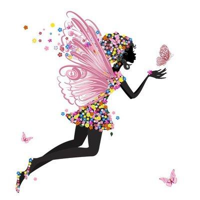 Duvar Çıkartması Kelebek Çiçek Peri
