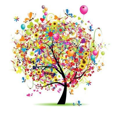 Duvar Çıkartması Mutlu bir tatil, balon ile komik ağacı