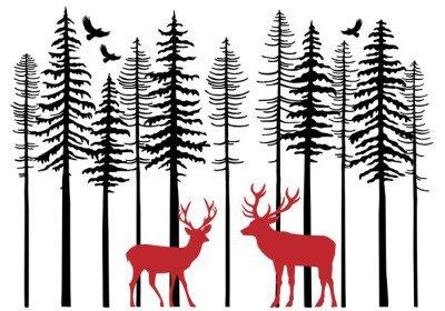 Duvar Çıkartması Ren geyiği, vektörle köknar ormanı