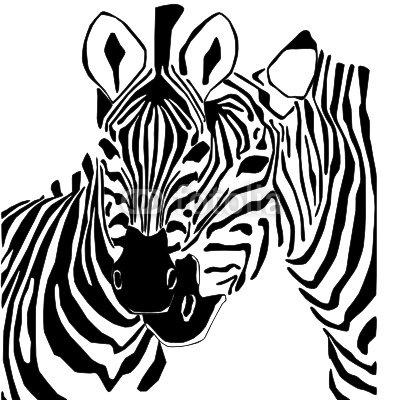 Duvar Çıkartması Siyah Beyaz Zebra Portre