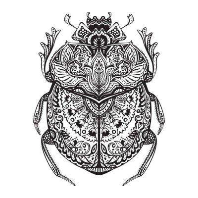 Duvar Çıkartması Siyah ve beyaz eli zentangle stilize scarab çizilmiş.
