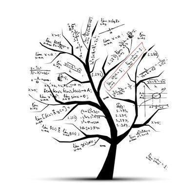 Duvar Çıkartması Tasarım için Matematik ağacı