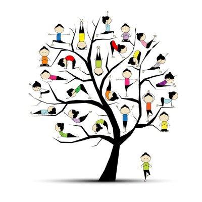 Duvar Çıkartması Yoga, tasarım için ağaç konsepti