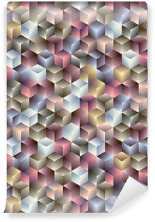 Vinil Duvar Kağıdı 3d geometrik sorunsuz desen küpler.