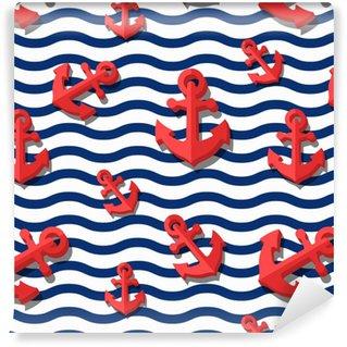 Vinil Duvar Kağıdı 3d stilize kırmızı çapalar ve mavi dalgalı çizgileri ile vektör sorunsuz desen. yaz deniz çizgili arka plan. moda tekstil baskı tasarımı, ambalaj kağıdı, web arka planı. düz çaplı sembol.