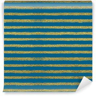Vinil Duvar Kağıdı Altın çizgili Seamless pattern