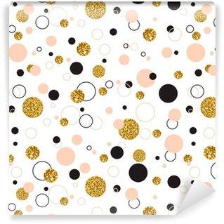 Vinil Duvar Kağıdı Altın Geometrik Glitter Nokta Universal Modern Şık kesintisiz Şablon o Vector illustration. Yaratıcı Düğün, Yıldönümü, Doğum Günü, Sevgililer Günü, Parti Davetiyeleri arka plan.