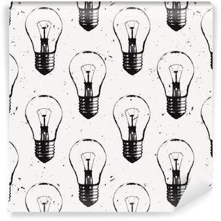 Pixerstick Duvar Kağıdı Ampuller ile vektör grunge seamless pattern. Modern yenilikçi kroki tarzı. Fikir ve yaratıcı düşünme kavramı.