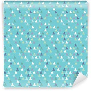 Pixerstick Duvar Kağıdı Aqua mavi dikişsiz yenilikçi geometrik üçgenler desen