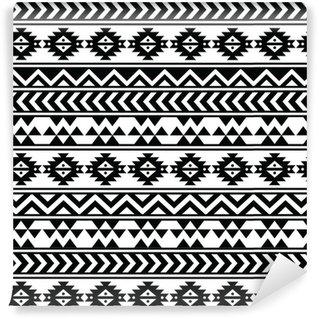 Vinil Duvar Kağıdı Aztek aşiret kesintisiz siyah ve beyaz desen
