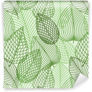 Vinil Duvar Kağıdı Bahar anahat reen yaprakları Seamless pattern
