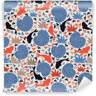 Pixerstick Duvar Kağıdı Balıklar ile su birikintisi. Seamless pattern