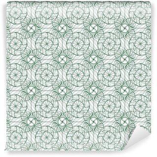 Vinil Duvar Kağıdı Beyaz (şeffaf) arka plan üzerinde izole yeşil meneviş süsü ile sorunsuz arka plan deseni. Vektör çizim eps