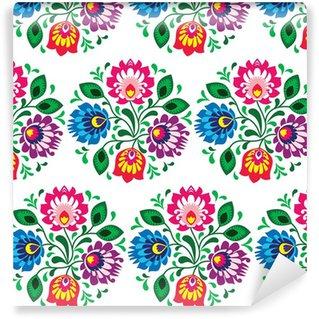 Pixerstick Duvar Kağıdı Beyaz üzerine Polonya dikişsiz geleneksel floral pattern
