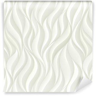 Vinil Duvar Kağıdı Beyaz volümetrik dalgalar ile kesintisiz desen. soyut Arkaplan.