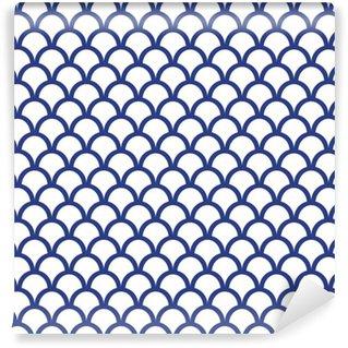 Vinil Duvar Kağıdı Blue Fish Ölçeği Dikişsiz Desen