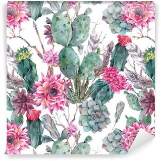 Pixerstick Duvar Kağıdı Bohem tarzı Cactus suluboya seamless pattern.
