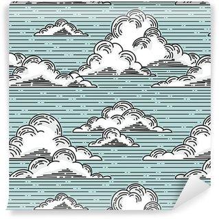 Vinil Duvar Kağıdı Bulutlar sorunsuz desen illüstrasyon elle çizilmiş. vektör arka plan