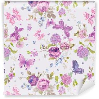 Vinil Duvar Kağıdı Butterflies- Dikişsiz Çiçek Shabby ile Bahar Çiçekleri Arkaplan