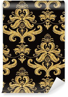 Vinil Duvar Kağıdı Çiçek altın duvar kağıdı