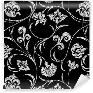 Vinil Duvar Kağıdı Çiçek gümüş duvar kağıdı