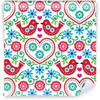 Pixerstick Duvar Kağıdı Çiçekler ve kuşlar ile halk sanatı sorunsuz desen