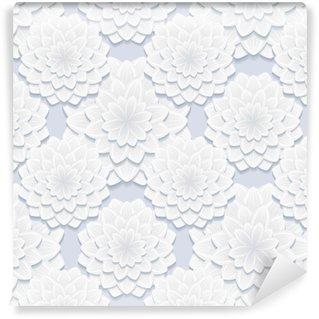 Vinil Duvar Kağıdı Çiçeklerle güzel gri kesintisiz desen