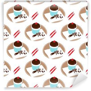 Vinil Duvar Kağıdı Çikolatalı çörek, baharatlar ve şeker. maskenin altındaki kesintisiz desen.