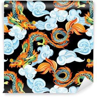 Pixerstick Duvar Kağıdı Çin Ejderha sorunsuz desen. Asya ejderha illüstrasyon