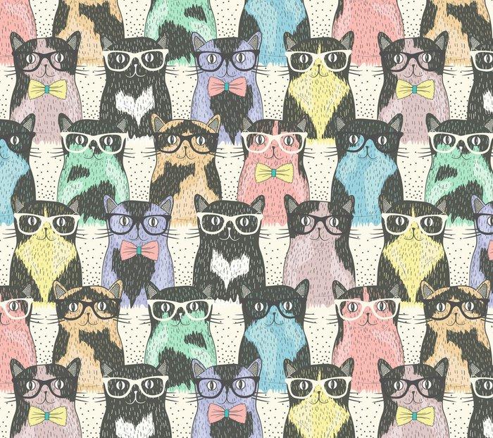 Pixerstick Duvar Kağıdı Çocuklar için yenilikçi sevimli kedi ile Seamless pattern -