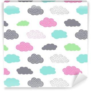 Pixerstick Duvar Kağıdı Çocuklar tatil için bulutlar, renkli sorunsuz desen. Sevimli bebek duş vector background. Çocuk çizim tarzı illüstrasyon.