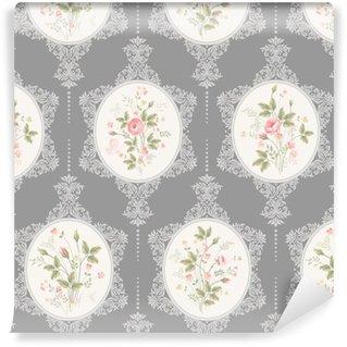 Vinil Duvar Kağıdı Dantel ile ve sorunsuz floral pattern gri arka plan üzerinde buket gül