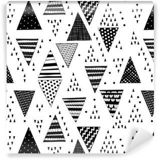 Pixerstick Duvar Kağıdı Dekoratif elle çizilmiş üçgenler ile seamless pattern.