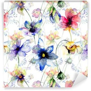 Vinil Duvar Kağıdı Dekoratif yaz çiçekleri ile Seamless pattern