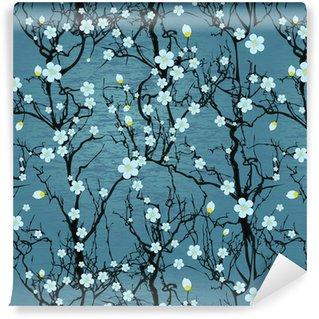 Vinil Duvar Kağıdı Dikişsiz ağaç deseni. Japon kiraz çiçeği