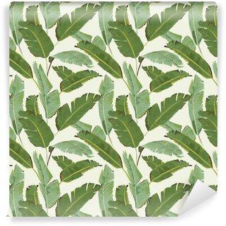 Vinil Duvar Kağıdı Dikişsiz Desen. Tropikal Palmiye Background bırakır. Muz yaprakları