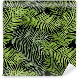 Pixerstick Duvar Kağıdı Dikişsiz Desen. Tropikal Palmiye Background bırakır. Vector Background