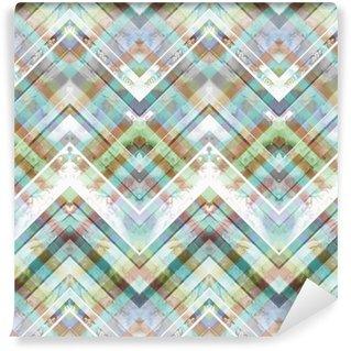 Vinil Duvar Kağıdı Dikişsiz el yapımı geometrik desen. Zikzak çizgiler, diyagonal çizgiler ve elmas, batik mavi ve kırmızı renkler. Suluboya etnik köken.