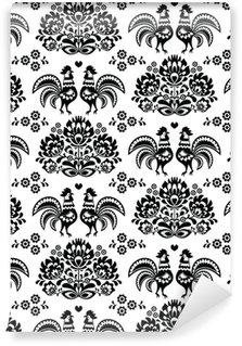 Pixerstick Duvar Kağıdı Dikişsiz Lehçe, horozlar ile Slav siyah halk sanatı desen