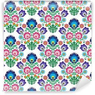 Pixerstick Duvar Kağıdı Dikişsiz Lehçe, Slav halk sanatı çiçek deseni - wzory lowickie
